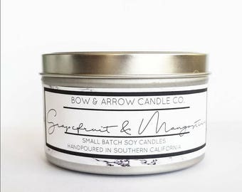 8 oz Natural Soy Candle Grapefruit & Mangosteen Scented | 8 oz Tin Candle | Fruity Soy Candle | Grapefruit Candle| Scented Soy Candle | Gift
