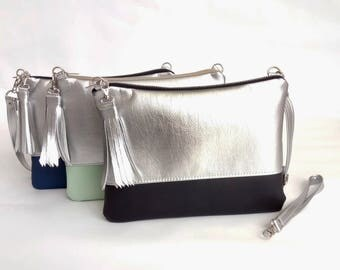 Trendy Silver clutch purse Bridesmaid Gift Wedding clutch Clutch Evening purse Braidsmaide wristlet Wedding purse Crossbody bag