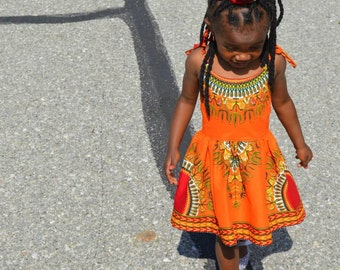 Orange Dashiki Strappy Sundress