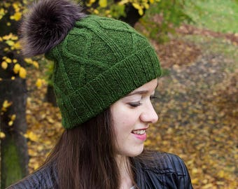 Alpaca Hat With Fur Pompom - Fur Pom Pom Beanie - Christmas Gift For Her - Girlfriend Gifts For Christmas - Womens Gifts Under 50