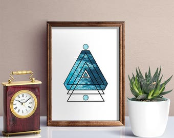 Triangle Ocean Art- Triangle Art - Triangle Ocean Art - Geometric Print Art - Ocean Print - Triangle Wall Decor - Ocean Poster Ocean Decor