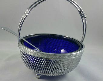 Chrome Mesh Basket With Cobalt Blue Glass Liner,  Footed Chrome Condiment Dish, Cobalt Blue Glass