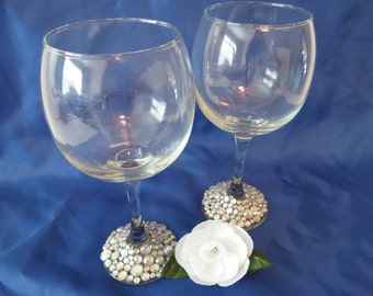 Wine glasses. glitzy stemware. wedding, rehearsal dinner, New Years Eve party, glam on a budget