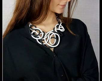 Black and white rubber necklace-rubber jewellery-contemporary jewellery-modern style-black and white-modern accessories