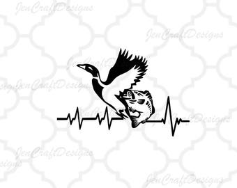 Duck Fish SVG Cutting File, Hunting Svg Heartbeat Buck Svg, Png, Eps,Dxf Files, Vector Art, Cricut DS, Silhouette Studio, Cut Files