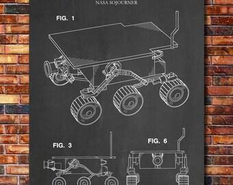 NASA Mars Rover Sojourner Patent Print Art 2001