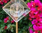 Great Gatsby • Art Deco Yard Art • Glass Garden Flower • Vintage Repurposed Diamond • Yard Decor • Cut Glass Plate Flower