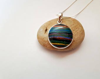 Large rainbow calsilica pendant; 92.5 sterling silver, unique, free shipping