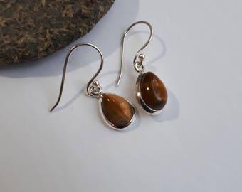 Silver tiger eye earrings, teardrop gemstone, free shipping