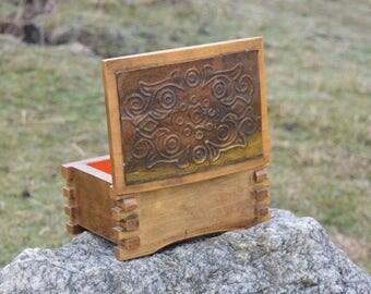 Trinket box - Wooden box - Hand-made wooden box - Jewelry box - Copper sheet case - Storage box - Massive Box - Memory box - Wedding box