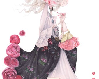 beauty and the beast pop surrealism fashion illustration lea seydoux ulyana sergeenko gothic tale art print