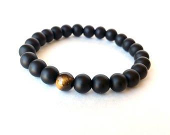 Matte Bead Bracelet, Black Bead Bracelet, Tiger Eye, Black Onyx Bracelet, Matte Black Bracelet, Matt Onyx Bracelet, Matte Black Bracelet