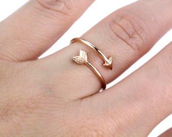 Rose Gold Arrow Ring, Dainty Arrow Ring, Boho Arrow Ring, Arrow Stacking Ring, Arrow Wrap Ring, Adjustable Ring, Rose Gold Ring, Arrow Rings