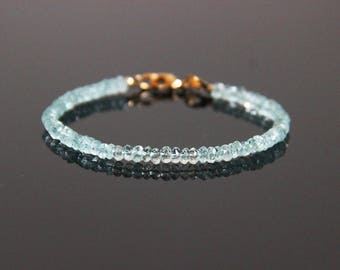 Aquamarine Bracelet - Aquamarine Bead Bracelet, Aquamarine Jewelry, Aqua Bracelet, March Birthstone, March Birthstone Bracelet,