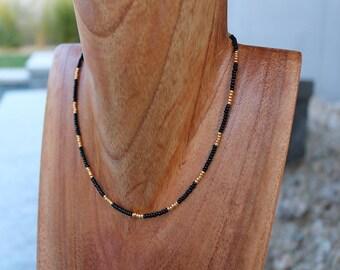 Black and Gold Beaded Choker Necklace // Black Choker // Gold filled Choker // Gold Beads // Handmade necklace // Beaded Choker // Chokers