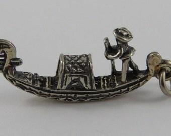 Gondola Silver Vintage Charm For Bracelet