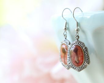 Unique gift for women, Earrings with Real Dried Flowers, Red Pink Earrings, Eco friendly jewelry (Free Shipping)