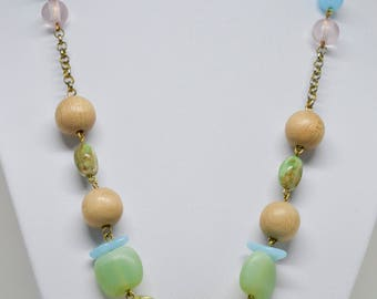Charming Lucite and Wood Necklace