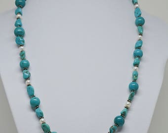 Teal Color Beaded Necklace