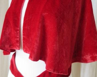 Vintage 1920's Art Deco Red Silk Velvet Capelet- Diamonte Buckle