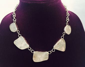1  Natural Quarz silver Set, earrings and Necklace