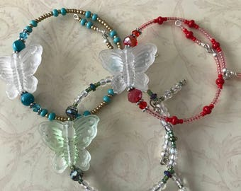 Butterfly Bracelets, Stretchy Colorful Bracelets, Colorful Beaded Bracelets, memory wire bracelets, handmade jewelry, Glass beaded bracelet,