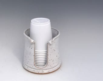 Porcelain Bathroom Cup Holder (3 Ounce) - White Cup Holder - Pottery Bathroom Cup Holder Cup Holder - Ready To Ship