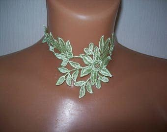 light green floral lace evening wedding bridal lace necklace Christmas ceremonies