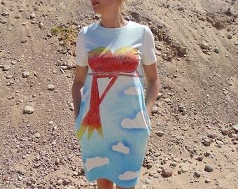 SALE Sexy Summer Dress, Plus Size Dress, Light Blue Dress, Sun Dress, Bird Dress, Cloud Dress, Bohemian Clothing, Beach Dress, Short Sleeve
