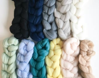 MERINO WOOL ROVING / fibre pack / weaving / 5 pack of 125 grams