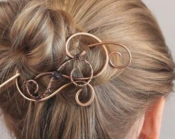 Hair Slide, Copper Hair Clip, Purple or Green Crystal Hair Stick, Hair Pin, Hair Barrette, Hair Accessories for Women, Gift for Mom