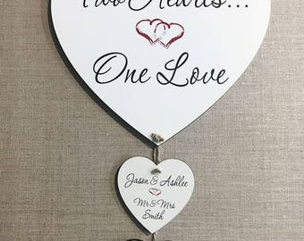 Personalised Wedding Gift for Bride and Groom Heart Love Plaque Sign W178