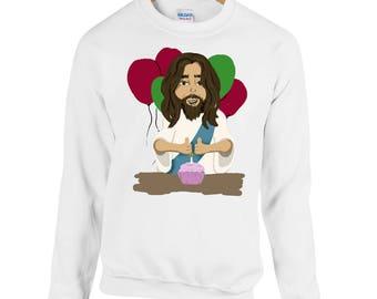 Happy Birthday Jesus Printed Christmas Jumper Sweatshirt Funny Xmas Festive Funny Comedy Tis The Season Religion