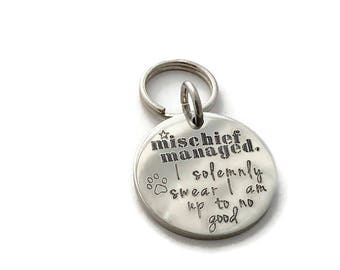 Dog tag id, Pet Tag ID, Metal dog tag, Cat tag ID, ONE Pet id tag, stainless steel, non tarnish or rust, Harry Potter Solemnly Swear no good