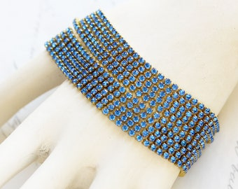 Blue Rhinestone Bracelet - Multi Strand Bracelet - Bracelet Gift for Wife - Girlfriend Loves Jewelry - Maid of Honor Bracelet - Date Night