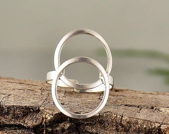 Sterling silver circle ring, eternity circle ring,  best friends gift, minimalist ring, double round jewelry, dainty ring,middle finger ring