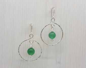 Green Agate Hoop Earrings, Boho Earrings, Hippy Earrings, Silver Hoops, Handmade Earrings, Wire Wrapped Earrings, Gift for Her