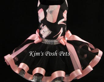 Dog Dress _  Black Fifth Avenue Shopping Dog Tutu Dress _ Summer _ Kim's Posh Pets