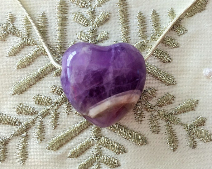 Amethyst HEART Necklace / Reiki Jewelry