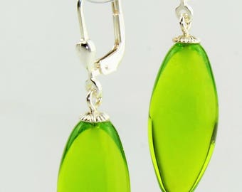 Earrings olive / Brisur 925/000 Silver rhodium plated, green may