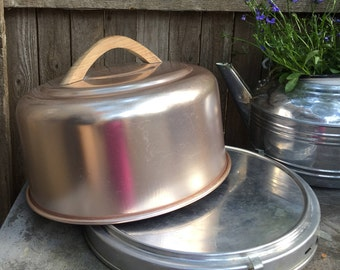 Retro, Mirro,  Aluminum Cake Carrier, Tray and locking cover vintage rose gold wooden handle farmhouse kitchen decor boho kitsch