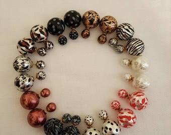 Pattern Double Pearl Stud Earrings - Pattern Stud Earrings - Double Pearl Earrings - Leopard Print - Polka Dot - Stud Earrings - Earrings