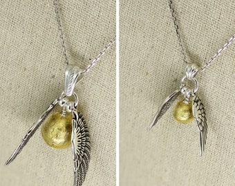SS040- Murano glass Sterling Silver Quidditch-inspired winged golden ball necklace