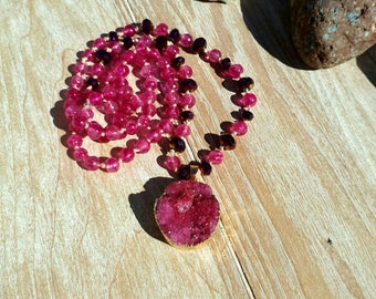 Long knotted druzy agate necklace pink and gold