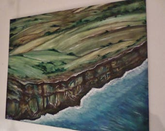 Irish Sea Cliff in January Watercolor Painting. On Canvas 20x16 inches