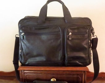 Spring Sale HARTMANN Black Leather Soft Briefcase Attache Laptop IPad Case And Carry On Bag- VGC