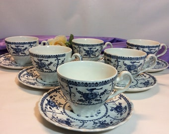 "Vintage 6 Sets Cups And Saucer Johnson Brothers "" Indies"" Pattern Blue And White Made in England!"