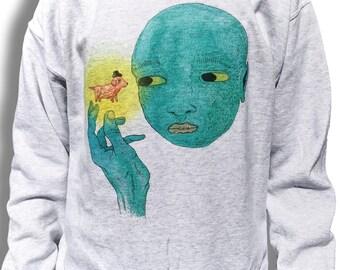 Grunge Sweater, Oversized Sweater, Indie Jumper, Alien Sweatshirt, Alien Sweater, Aesthetic Clothing, Pastel Aesthetic, Tumblr Jumper