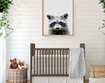 Raccoon Print, Nursery Decor, Nursery Wall Art, Digital Download, Large Poster, Nursery Printable, Woodland Nursery, Baby Animal Print