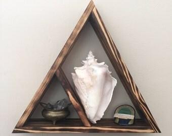 Floating Triangle Shelf, Free Shipping, Wood Wall Shelves, Floating Storage,  Reclaimed Shelving